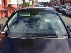 damaged front windscreen